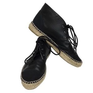 Chanel Black Lace Up Espadrille Booties Flats